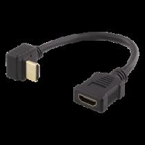 Lankstus HDMI adapteris, 0,2 m,  HDMI M / F, UHD DELTACO juodas / HDMI-21E