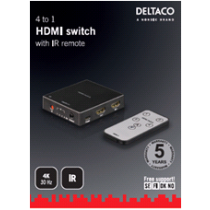 HDMI komutatorius DELTACO 4x1, juodas / HDMI-5001