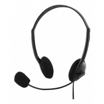 Ausinės DELTACO su mikrofonu, 108dB, 2m kabelis, juodos / HL-21