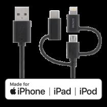 Universalus įkrovimo ir sinchronizavimo kabelis, 1m, micro USB, USB-C, Lightning DELTACO juodas / IPLH-155