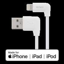 DELTACO Lighting  kabelis, 1m, 2.4A, kampinis USB-A / Lighting jungtis, baltas / IPLH-166