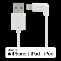 DELTACO Lighting kabelis, USB-A/ kampinė Lighting jungtis, 2,4A, 1m, MFi, Baltas / IPLH-166