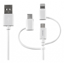 Kabelis USB-C / Micro USB / Lightning Sync / Charging Cable, MFi, 1m, 15W, USB Type A ha, baltas. DELTACO IPLH-179