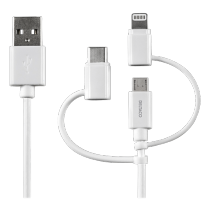 Mob. telefono kabelis DELTACO USB-C, Micro USB, Lightning , 0.5m, baltas /  IPLH-180