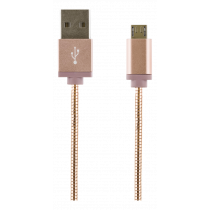 Micro USB Sync. kabelis STREETZ USB 2.0, 1m, 2.4A 12W, rožinis / IPLH-275