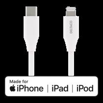 DELTACO USB-C į Lightning kabelis, 0.25m, 9V / 2A PD, 5V / 3A PD, 5V / 2.4A, USB 2.0, baltas / IPLH-300M