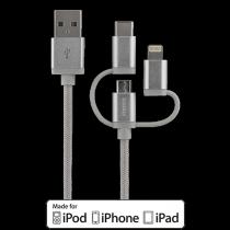 Mob. telefono kabelis STREETZ, USB-microUSB+Lightning+USB-C, 1.0m, sidabrinis / IPLH-585