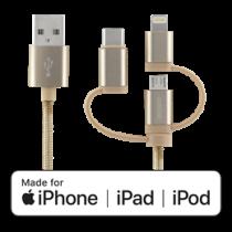 DELTACO Universalus kabelis, Data Sync, 1m, Micro USB, USB-C, Lightning, auksinis / IPLH-596