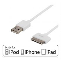 USB duomenų perkėlimo / įkrovimo kabelis DELTACO skirtas Apple 30-pin, MFi, 1m, baltas / IPNE-504