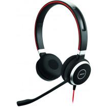 Ausinės Jabra EVOLVE 40 MS stereo, laidinės, su 3.5mm and USB jungtimis, valdymo mygtukai ant laido, juodas / raudonas / JABRA-308