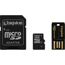 Atminties kortelė, microSDHC, 16GB , USB atminties kortelių skaitytuvas, SDHC adapteris, Class 4 KINGSTON (MBLY4G2 / 16GB) / KING-0588
