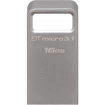 DataTraveler Micro 3.1 - USB 3.1 atmintis 16GB, Gen 1, 100MB / s , metalinis korusas, sidabro spalvos KINGSTON / KING-1909
