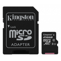 Atminties kortelė Kingston Canvas Select microSDXC, 256GB, su SD kort. adapteriu, juoda / KING-2579