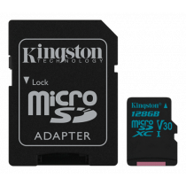 Atminties kortelė Kingston Canvas Go microSDXC, 128GB, su SD kort. adapteriu, juoda / KING-2594