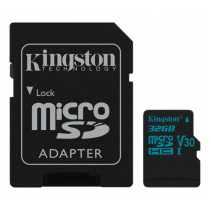 Atminties kortelė Kingston Canvas Go microSDHC, 32GB, su SD kort. adapteriu, juoda / KING-2595