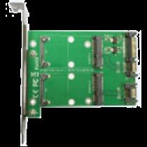 Dual mSATA į dvigubą SATA išplėtimo kortelę, PCIe kortelę, 22 kontaktų DELTACOIMP žalia / KT007A