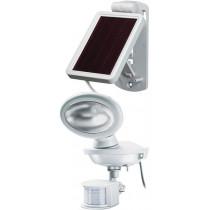 Saulės energija pakraunamas sieninis lauko šviestuvas su judesio davikliuIP44, 85lm, (P) IR 180 ° apšviečia iki 10m, 3m kabelis BRENNEN white / LED-1159