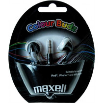 Ausinės Maxell Color Budz į ausis, 32 Ohm, 1.2m, juodos / MAX-930