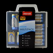 """""""Maxell"""" šarminė baterija """"Multi-Pack"""", AA / AAA / C / D / 9V, apsauginis dėklas, bl"""