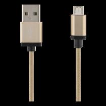 USB USB sinchronizavimo / įkrovimo kabelis, pintas, USB-A ma - USB Micro B ma, 1m, 2.4A, USB 2.0 DELTACO aukso spalva / MICRO-111F