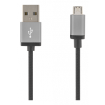USB sinchronizavimo / įkrovimo kabelis, pintas, USB-A ma - USB Micro B ma, 2m, 2.4A, USB 2.0 DELTACO juodas / MICRO-113F