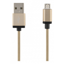 USB sinchronizavimo / įkrovimo kabelis, apipintas, USB-A ma - USB Micro B ma, 2m, 2.4A, USB 2.0 DELTACO auksinė / MICRO-114F