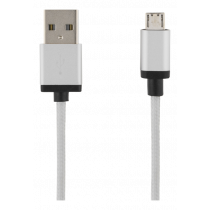 USB sinchronizavimo / įkrovimo kabelis, apipintas, USB-A ma - USB Micro B ma, 2m, 2.4A, USB 2.0 DELTACO sidabrinė / MICRO-115F