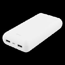 Išorinė baterija DELTACO 20 000 mAh, 2x USB-A, 2.1A, LED indikatorius, balta / PB-1072