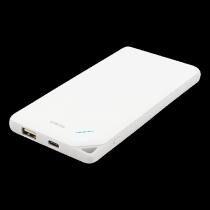 Išorinė  baterija DELTACO 10000mAh, 2.1A,  5V, baterijos įkrovimas: 1xUSB, prietaisų įkrovimas: 1xUSB C, 1xUSB, balta / PB-819
