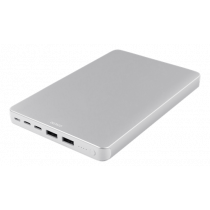 DELTACO 20.000 mAh Li-Po išorinė baterija su USB-C ir lightning jungtimis, sidabrinė / PB-833