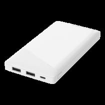 Išorinė baterija DELTACO 10000 mAh, 2.1 A / 10.5 W, 37 Wh, 2x USB-A, balta / PB-A1001