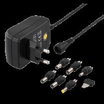 Maitinimo šaltinis DELTACO nuo 240 V iki 3-12 V, 1,5 A, 6 skirtingi antgaliai, juodas / PSR-15B
