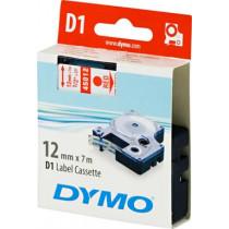 D1, prekės ženklo juosta, 12mm, raudonas tekstas ant skaidrios juostos, 7m - 45012 DYMO / S0720520