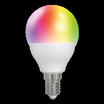 DELTACO SMART HOME LED lempa, E14, WiFI 2.4GHz, 5W, 470lm, pritemdoma, 2700K-6500K, 220-240V, RGB SH-LE14G45RGB
