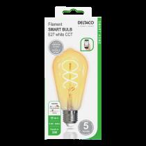 DELTACO SMART HOME LED lemputė, E27, WiFI 2.4GHz, 5.5W, 470lm, diminama, 1800K-6500K, 220-240V,   SH-LFE27ST64S