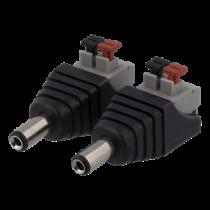 """2 kontaktų kabelių blokas iki 5,5 mm nuolatinės srovės, ,,male"""" DELTACO juoda / TBL-1001"""