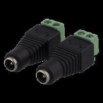 """2 kontaktų kabelių blokas iki 5,5 DC, varžto fiksavimas, 5,5 DC ,,female"""" DELTACO juoda / TBL-1004"""