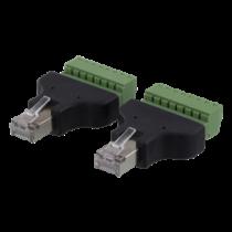 8 kontaktų blokas iki RJ45, 2-Pack, varžtas, RJ45 DELTACO juodas / TBL-1010