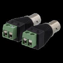 2-jų kontaktų jungtis su BNC, 2-Pack, varžtais, BNC DELTACO juoda / TBL-1012