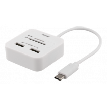 Kort. skaitytuvas DELTACO USB-C SD, USB-A 2.0, 480 Mbps, 18 cm, baltas / UCR-157
