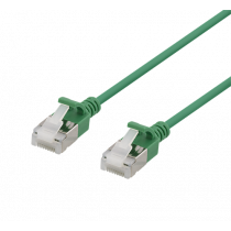 DELTACO U / FTP Cat6a patch cable, slim, 3.8mm in diameter, 1m, 500MHz, LSZH, green / UFTP-1022
