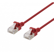 DELTACO U / FTP Cat6a pleistras, plonas, 3,8 mm skersmens, 1,5 m, raudonas