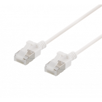 DELTACO U / FTP Cat6a patch cable, slim, 3.8mm in diameter, 2m, 500MHz, LSZH, white / UFTP-1048