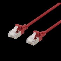 DELTACO U / FTP Cat6a pleistras, plonas, 3,8 mm skersmens, 2m, raudonas