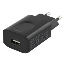DELTACO sieninis įkroviklis, 100–240 V, 5 V 2,4 A, 1xUSB-A,, juodas / USB-AC158