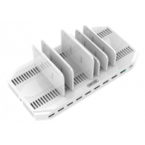 160W USB įkrovimo stotis, 9xUSB-A 1xUSB-C, Qualcomm QuickCharge 3.0, 5V 2.4A, 11 atskyriklių, plastikas baltas / USB-AC167