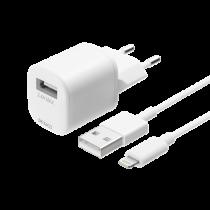 """DELTACO USB sieninis įkroviklis, USB-A, 2,4 A, įsk. 1 m su """"Lightning""""  laidu Iphone  telefonams  USB-AC181"""