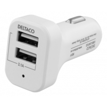 Auto įkroviklis DELTACO 2,1A 10W, 12-24V, 2xUSB-A, baltas / USB-CAR121