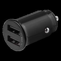 DELTACO 12/24 V USB įkroviklis su dvigubomis USB-A jungtimis, 2,4 A, 12 W, juodas USB-CAR124