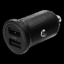Automobilinis įkroviklis DELTACO 12/24 V USB su dviem USB-A jungtimis, 24 W, juodas USB-CAR127